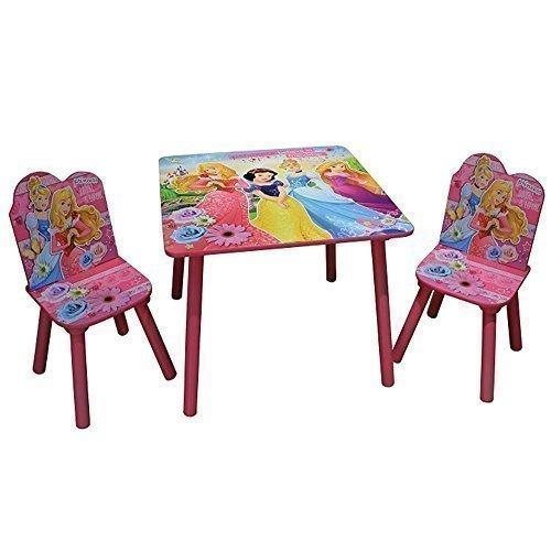DISNEY PRINCESS WOODEN TABLE & CHAIRS GIRLS PINK FURNITURE SET KIDS XMAS...