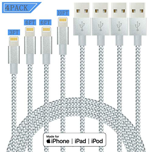 IDiSON 4Pack 3ft Apple MFi Certified iPhone Lightning Cable Braided Nylon Fast Charger Cable Compatible iPhone 11 X XR XS MAX 8 Plus 7 6s 5s 5c Air iPad Mini iPod (Gray White)