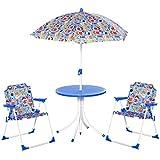 Outsunny Set de Mesa y Sillas Exterior Infantil Conjunto de Picnic Plegable para Jardín Juego de Mesa con Sombrilla Ajustable 100-125 cm Protección de UV Azul