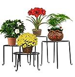 Dazon 4in 1 Metall Blumen Regale Pflanzenständer Tisch Pflanzentisch Blumenständer (Schwarz)