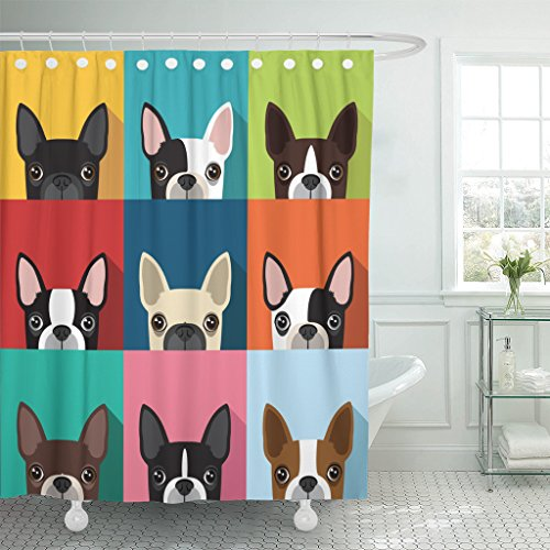 TOMPOP Shower Curtain Brown Fun Boston Terrier Pattern Full Color Flat Human Waterproof Polyester Fabric 72 x 72 inches Set with Hooks