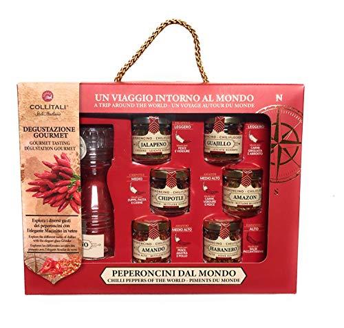 Gift Box Degustazione Gourmet Peperoncini Dal Mondo , Esplora I Diversi Gusti Dei Peperoncini Con L'Elegante Macinino In Vetro, Idea Regalo