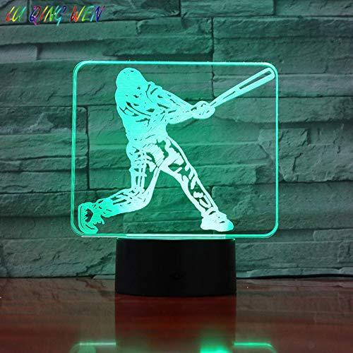 Kinder LED Nachtlicht Tischlampe Jungen Schlafzimmer Dekoration Nachtlicht Baseball Spieler Figur Kinder 3D Nachtlicht Tischlampe Usb