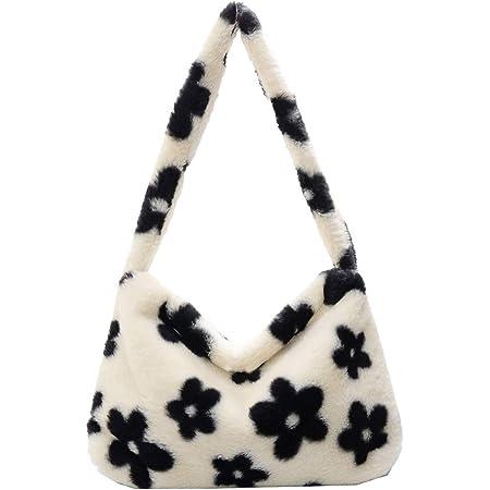 KANUBI Umhängetaschen, Plüschhandtaschen, Handtaschen, Blumenkupplungen, flauschige Handtaschen, Geldbörsen unter den Armen, Umhängetaschen, süße Damenhandtaschen mit Blumenmuster