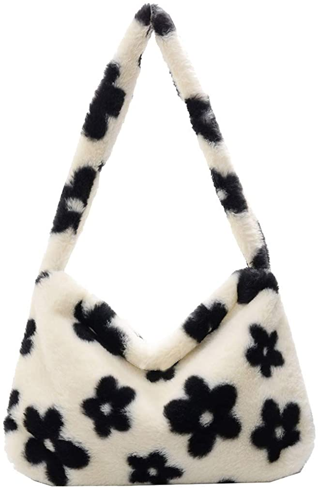 Aktudy Shoulder Bags for Women Girls Plush Animal Pattern Underarm Bag Top-handle Handbag