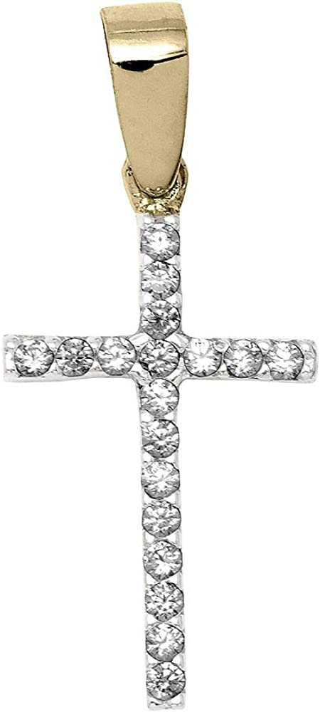 Max 57% OFF LooptyHoops Small 14K Yellow Gold Zirconia Cross Cubic El Paso Mall Pen Charm