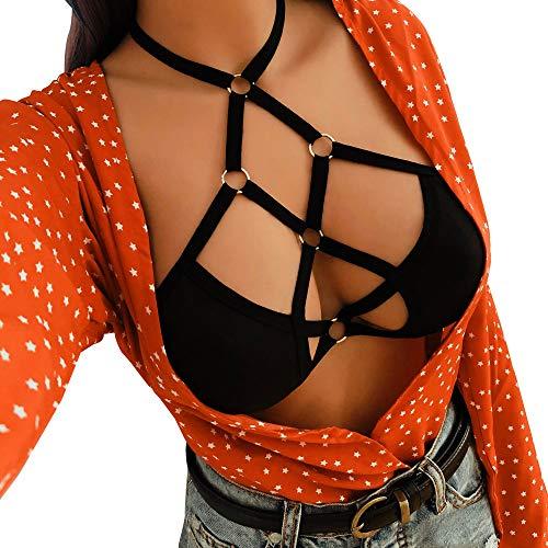 MEIbax Lencería Erotica de Mujer, Mujeres Sexy Ropa de Dormir Liguero Muslo Panti Sexy Ropa Interior Camisón Perspectiva de Encaje de lencería Hueca Babydoll Traje Especias Tentación Ropa de Dormir