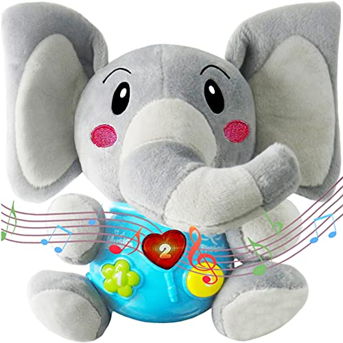 Baby Music Elephant Toys,Infant Musical toy,Lights,Soothing Sounds,Interactive,Musical Elephant Plush Animal Toy,Educational Learning Toy for 0 3 6 12 Months 1 2 3 4 Year Olds Kids Toddlers Girls Boys
