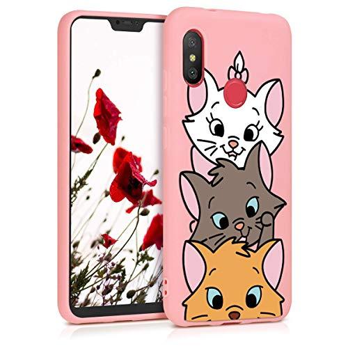 ZhuoFan Cover Xiaomi Redmi 6 PRO/Mi A2 Lite, Custodia Cover Silicone Rosa con Disegni Ultra Slim TPU Morbido Antiurto 3D Cartoon Bumper Case Protettiva per Xiaomi Redmi 6 PRO/Mi A2 Lite, 3 Cat