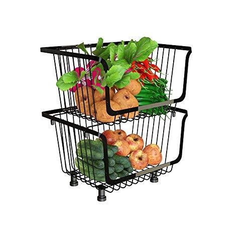 Familien-Aufbewahrungskorb für Gemüse und Obst, Metallboden für Küche, Aufbewahrungsbox, freistehend oder stapelbar, Schwarz, Länge 35 x Breite 27 x Höhe 40,5 cm