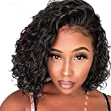 Short Bob Lace Front Human Hair Wigs With Baby Hair 150% Density For Black Women Pre Plucked Hairline Brazilian Virgin Full Lace Human Hair Wigs Loose Curly Hair Natural Color (Lace Front Wig 10)