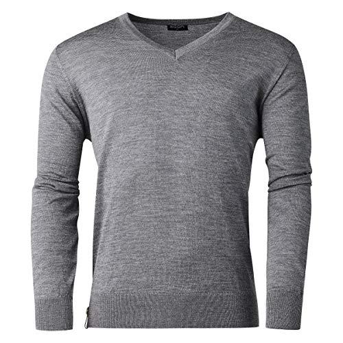agon Herren Merino-Pullover - hochwertiger V-Pullover für Männer, pflegeleicht und atmungsaktiv, für Sport und Business, Made in EU Dunkelgrau-Melange 50/M