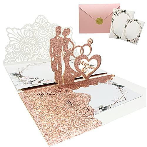 Hochzeitskarte 3D (Rose Golden)3D Hochzeitskarten Karten, Roségold Pop Up Hochzeitskarte, Hochzeit Einladungskarte Karte mit Umschlag für Hochzeit, Jahrestag, Valentinstag, Wedding Card, Anniversary