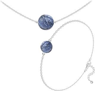 Les Trésors De Lily [Q4684 - Argento fine Artigianale 'Mineralia' Argento Sodalite - 10 e 8 mm (Collana e Bracciale).