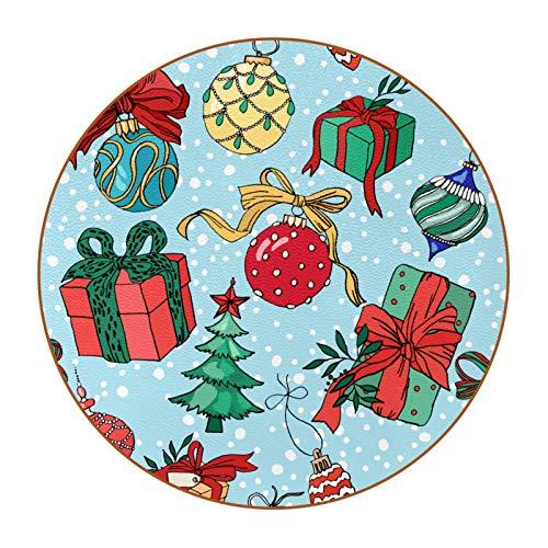 6 posavasos redondos para bebidas, alfombrilla de protección para tazas, oficina, cocina, antideslizante, elementos de Navidad, caja de regalo