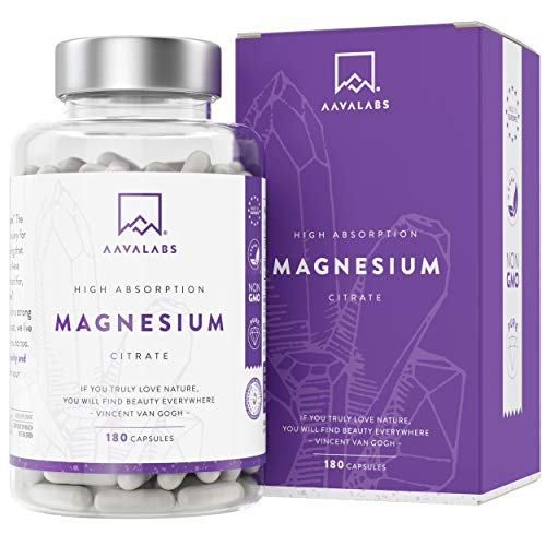 High Absorption Magnesium Citrate Supplement - [ 400 mg ] - Vegan-Friendly - High Dose of Elemental Magnesium – 180 Capsules - Pure and GMO Free - 1 Month Supply