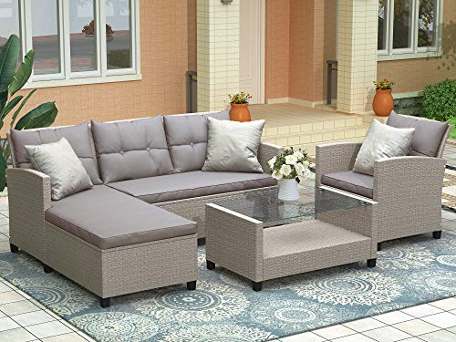 LZ LEISURE ZONE Patio Furniture Set Outdoor Sectional Sofa Set All-Weather PE Rattan Wicker Lawn Conversation Sets 4 Pieces Patio Sofa Set with Cushion & Table (Beige Brown Cushion)