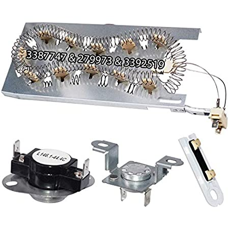 3387747 Dryer Heating Element /& 279816 Thermostat Kit /& 279973 3392519 Therma...