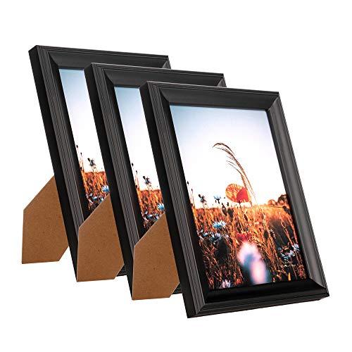Home&Me 100% Echtholz Bilderrahmen Modern Schwarz 13x18cm 3er Set Fotorahmen mit Echtglas zum aufhängen und aufstellen
