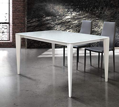 Milani Home s.r.l.s. Tavolo da Pranzo Moderno di Design Allungabile Cm 90 X 140/180/220 Bianco con Piano in Vetro per Sala da Pranzo Ristorante