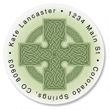 Personalized Celtic Cross Round St. Patrick's Day Address Labels - Set of 144 Self-Adhesive, Flat-Sheet Irish labels