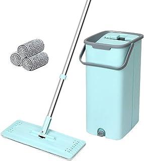 BBGSFDC Seau Plat Squeeze Seau étage Nettoyage à la Main Libre, 5 Types lavables réutilisables Mop tampons sèches ou humid...