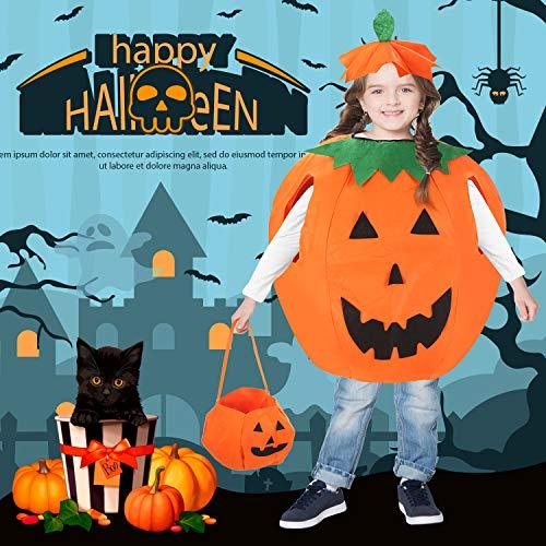 Farochy Halloween Pumpkin Costume for Kids Pumpkin Costume Kids Halloween Cosplay Party Clothes (3 PCS)
