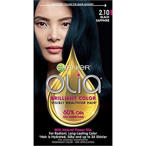 Garnier Olia Hair Color, Olia Bold Collection, Ammonia Free Hair Dye, Permanent Hair Color with Non-Drip Velvet Cream Formula, 2.10 Black Sapphire