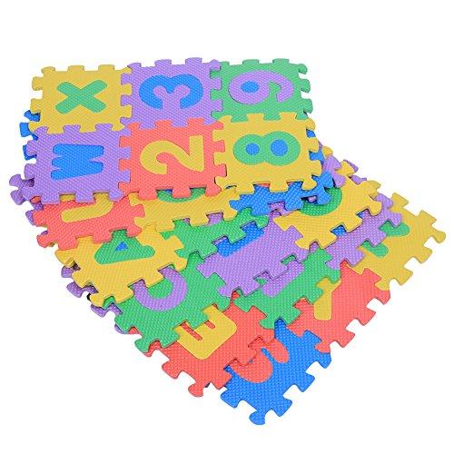 Alfombra de juego de espuma EVA suave de 36 piezas, números y letras Juego de alfombrillas Alfombrillas Habitación para niños y bebés Piso de color grueso Cuadrados Bebés Área de ejercicio para niños