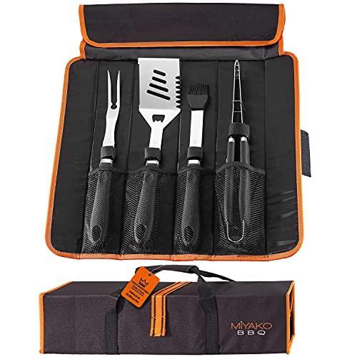 HELDENWERK Grillbesteck Set aus Edelstahl I BBQ Grillwerkzeug inkl. Grillzange, Fleischgabel, Grillwender & Grillpinsel I Grillset, Grill Set 4-teilig