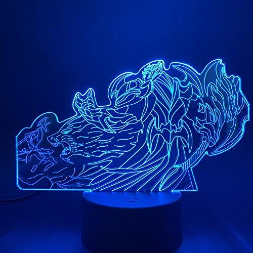 Lámpara De Ilusión 3D Luz De Noche Led League Of Legends Hero God Woad King Darius Skin Dormitorio Decoración Lol Para Niños Lámpara De Mesa De Regalo Para Niños