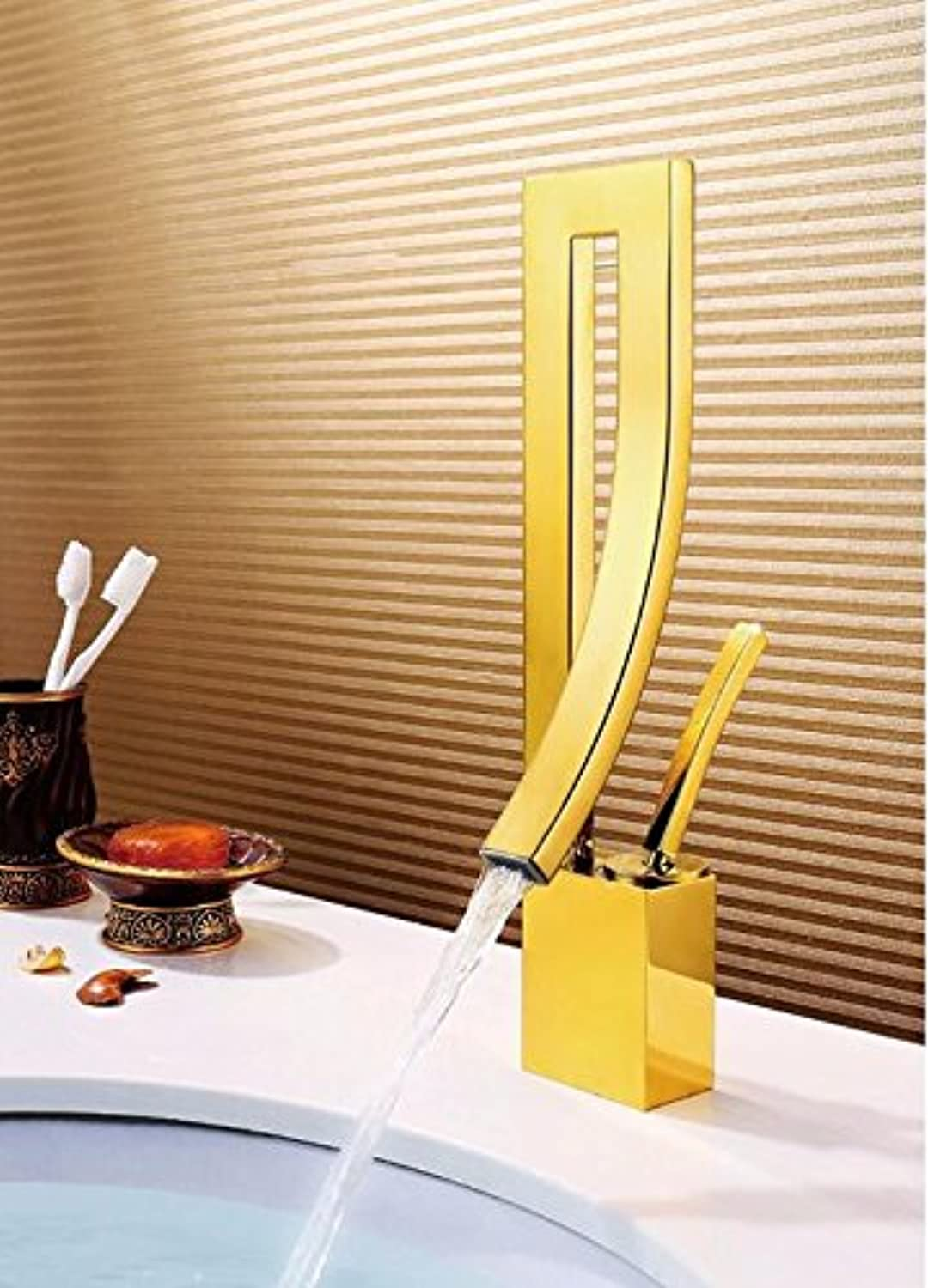 Mkkwp golden Bathroom Faucet Crane Chrome Finish Waterfall Faucet Bathroom Tap Bathroom Basin Mixer Tap with Hot and Cold Water