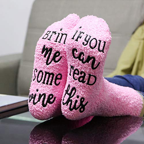 Wine Socks, McoMce Unique Wine Slippers for Women Medium, Soft Wine Gifts for Woman, Gift Socks with Cupcake Gift Packaging, Wine Socks Women love them - If You Can Read This Bring Me Some Wine Socks