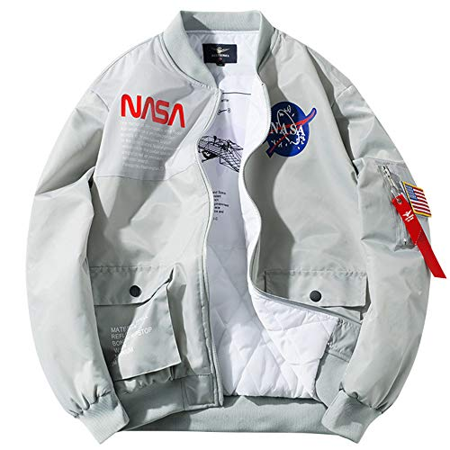 GHHYS Herren Bomber wasserdichte Jacke NASA Logo Baumwollkleidung Langarm Flight Windbreaker Air Force MA-1 Jacke Mantel Outdoor Sport,Grau,L