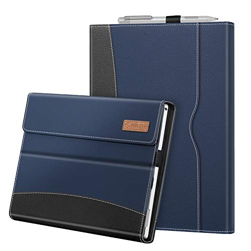 FINTIE Case for 12.3 Inch Microsoft Surface Pro 7 / Pro 6 / Pro 5/ Pro 4 / Pro 3 - Portfolio Business Cover with Pocket, Compatible with Type Cover Keyboard, Navy
