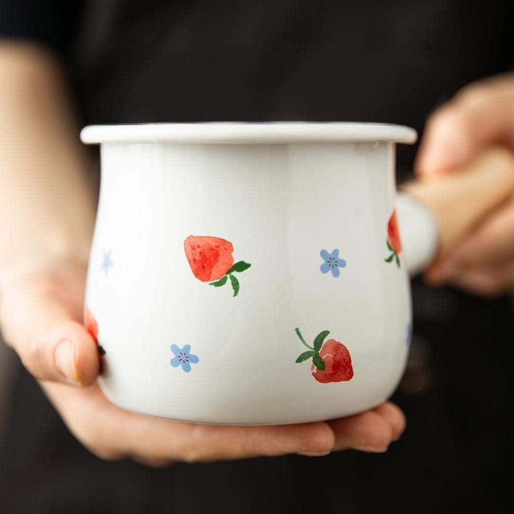Pot à soupe 500ml émail Pot lait avec poignée en bois Poêle au gaz à induction Cooke Petit déjeuner Lait Batterie de cuisine Café (Color : Cow) Heart