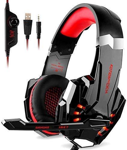 Adecuado para Auriculares, con micrófono LED Light, CASQUES Auriculares de gaminógenos de gaminógeno de bajo Color Rojo (Color: Rojo) YXF99 (Color : Red)