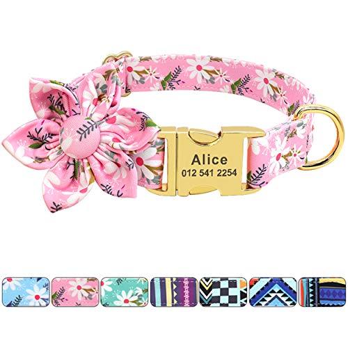 Beirui Collar de perro floral personalizado – Collar personalizado de poliéster suave con hebilla de metal grabado para perros pequeños medianos grandes (flor rosa, S)