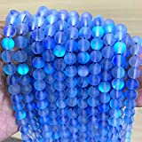 Beadalgo - Frosted Aura Crystal Mermaid Glass Beads 6mm, 8mm, 10mm, 12mm - 15 inch Strand (Lt. Sapphire, 10 mm)