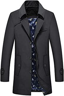 Men's Trench Coat Military Lapel Mid-Long Parka Single-Breasted Windproof Jacket with Full-Zip for Autum And Spring