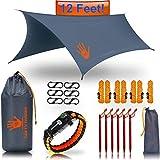 Rain Fly EVOLUTION 12 x 10 ft Camping Hammock RAIN Fly Waterproof Tent TARP & Survival Bracelet – Lightweight – Backpacker Approved – Diamond Ripstop – Perfect Hammock Shelter – Gray
