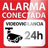 AAPC - Vinilo autoadhesivo disuasorio para cristal 15x15 Alarma Conectada Videovigilancia 24H
