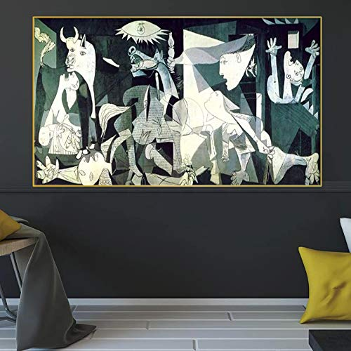 Famous Guernica-Picasso's Canvas Painting replica Poster Wall Art Prints Picasso Picture Home Wall Decoration-70x140cm No Frame