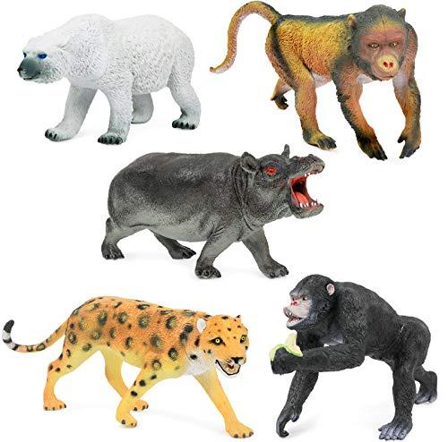 Click N  Play Jumbo Animal Figurine Playset  Assorted 5Piece Realistically Designed Wild Zoo  Safari  Jungle Plastic Animals for Kids & Toddlers