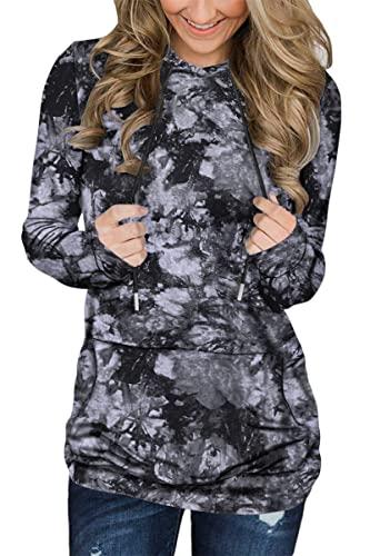 BEUFRI Womens Hoodie Sweatshirts Casual Tunic Tops Long Sleeve Tie Dye Shirts with Pockets (Small, Tie Dye Black)