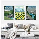 DLFALG Cuadro en lienzo HD Tour De France Poster Ciclismo Edimburgo Vintage Viajes Ciudad Paisaje Arte de la pared Impresión de imagen Decoración para el hogar-40x60cmx3 Sin marco