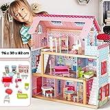 Infantastic Puppenhaus aus Holz - 3 Spielebenen, mit Möbeln und Zubehör, für 12 cm große Puppen - Puppenvilla, Dollhouse Kinder Spielzeug für Kinderzimmer und Schlafzimmer, für Mädchen und Jungen