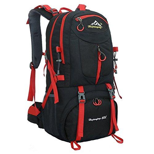 SUGOIDAN Hiking Backpack Waterproof Travel Fishing Climbing Camping 60L Hiking Daypack (Black)