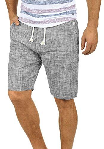 Blend Bones Herren Leinenshorts Kurze Leinenhose Bermuda In Leinen-Optik Aus 100% Baumwolle Regular Fit, Größe:3XL, Farbe:Black (70155)