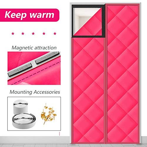 LSXIAO Wärmeschutzvorhang Elektromagnetische Abschirmtür for Die Küche Schalldicht Kälteschutz Winddicht wasserdichte PU-Jacke Isoliertes Garagentor, 44 Größen (Color : Pink, Size : 85×200cm)